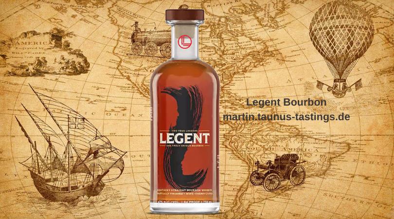 Eine Flasche Legent Bourbon mit einer historischen Landkarte im Hintergrund
