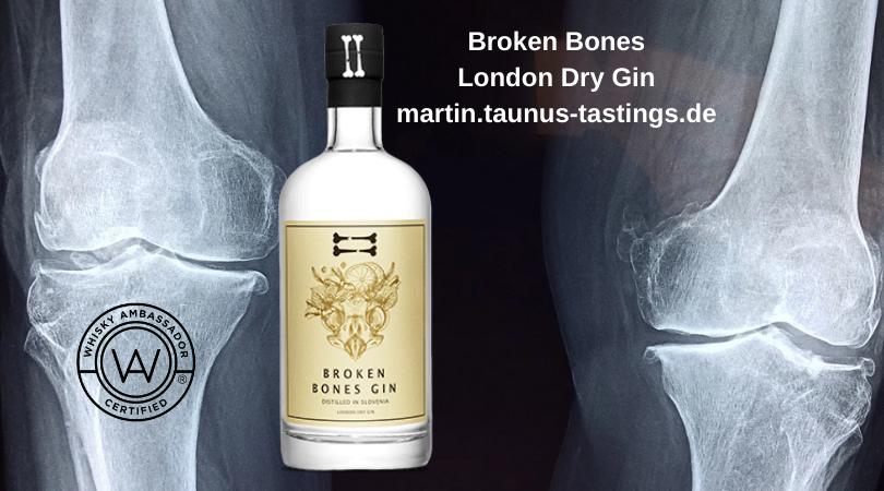 Eine Flasche Broken Bones London Dry Gin mit Röntgenbild im Hintergrund