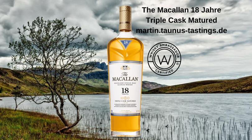 Eine Flasche The Macallan 18 Jahre Triple Cask Matured, im Hintergrund eine schottische Landschaft