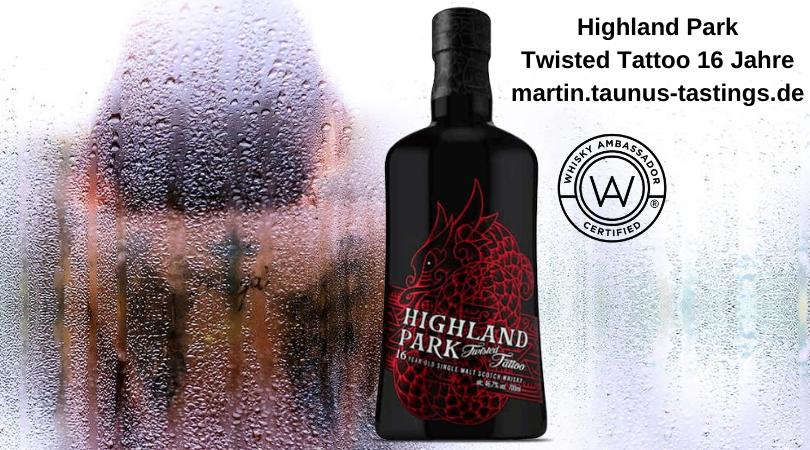 Eine Flasche Highland Park Twisted Tattoo 16 Jahre, im Hintergrund eine Tätowierte Frau