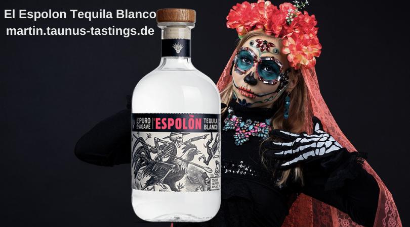 Eine Flasche El Espolon Tequila Blanco