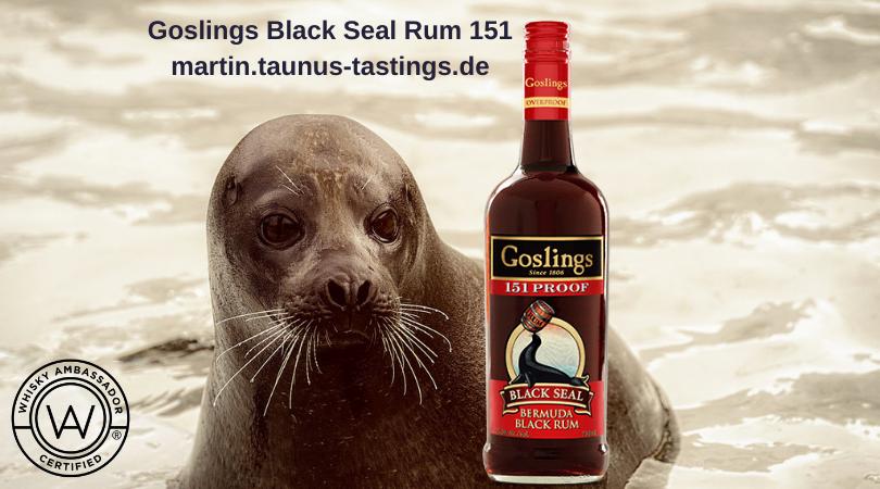 Eine Flasche Goslings Black Seal Rum 151, im Hintergrund ein Seehund