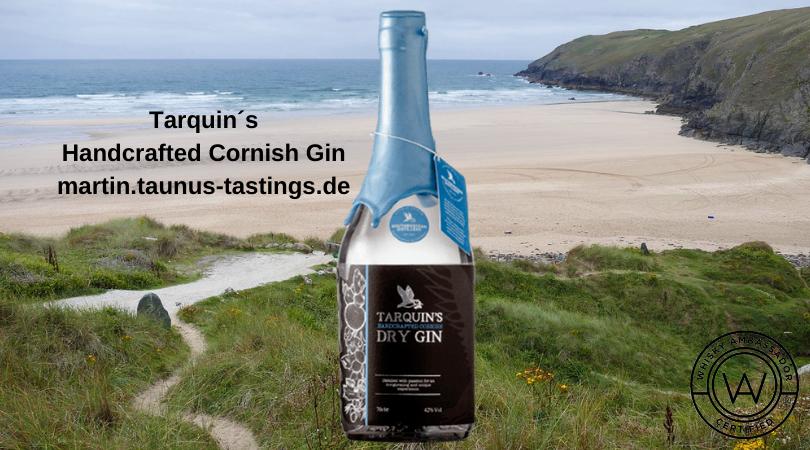 Eine Flasche Targuin´s Handcrafted Cornish Gin, im Hintergrund eine Küste in Cornwall